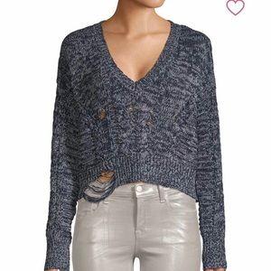 Wildfox Distressed Rib-Knit Sweater
